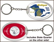 Michigan - Great Lakes State Keychain