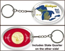 Michigan - Great Lakes State Keychain - with Gold Plated State Quarter
