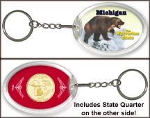 Michigan - Wolverine State Keychain - with Gold Plated State Quarter