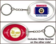 Minnesota - State Flag Keychain - with Gold Plated State Quarter