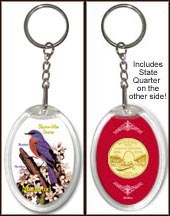 Missouri - State Bird & Flower Keychain - with Gold Plated State Quarter