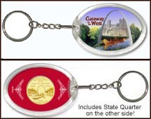 Missouri - Gateway to the West Keychain - with Gold Plated State Quarter