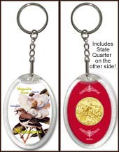 Mississippi - State Bird & Flower Keychain - with Gold Plated State Quarter