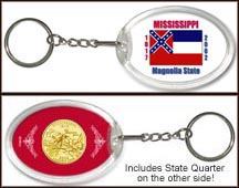 Mississippi - State Flag Keychain - with Gold Plated State Quarter