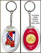 Mississippi - State Motto Keychain - with Gold Plated State Quarter