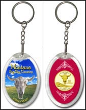 Montana - Big Sky Country Keychain - with Gold Plated State Quarter