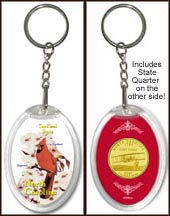 North Carolina - State Bird & Flower Keychain - with Gold Plated State Quarter