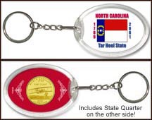 North Carolina - State Flag Keychain - with Gold Plated State Quarter