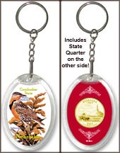Nebraska - State Bird & Flower Keychain - with Gold Plated State Quarter