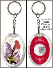 New Hampshire - State Bird & Flower Keychain