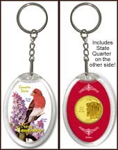 New Hampshire - State Bird & Flower Keychain - with Gold Plated State Quarter