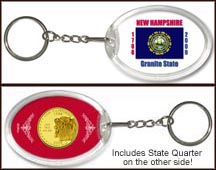 New Hampshire - State Flag Keychain - with Gold Plated State Quarter