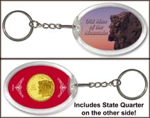 New Hampshire - Old Man of the Mountain Keychain - with Gold Plated State Quarter