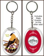 New Jersey - State Bird & Flower Keychain