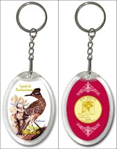 New Mexico State Bird & Flower Keychain - with Gold Plated State Quarter