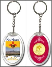 New Mexico - Land Of Enchantment Keychain - with Gold Plated State Quarter