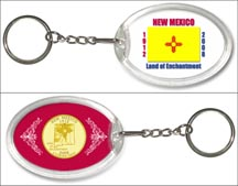 New Mexico State Flag Keychain - with Gold Plated State Quarter