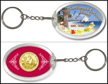 Northern Mariana Islands - Beach Keychain - with Gold Plated Territorial Quarter
