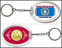 Northern Mariana Islands Flag Keychain - with Gold Plated Territorial Quarter