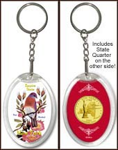 New York - State Bird & Flower Keychain - with Gold Plated State Quarter