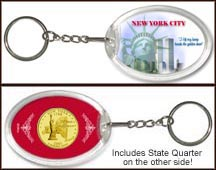 New York - New York City Keychain - with Gold Plated State Quarter