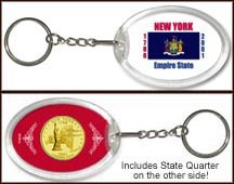 New York - State Flag Keychain - with Gold Plated State Quarter