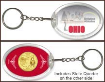 Ohio - Birthplace of Aviation Keychain - with Gold Plated State Quarter