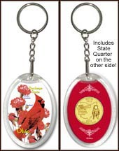 Ohio - State Bird & Flower Keychain - with Gold Plated State Quarter