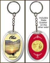Ohio - State Motto Keychain - with Gold Plated State Quarter