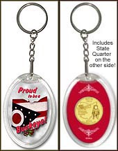Ohio - Proud to be a Buckeye Keychain - with Gold Plated State Quarter