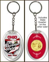 Ohio - The Buckeye State Keychain - with Gold Plated State Quarter