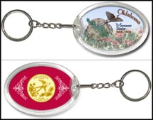 Oklahoma - The Sooner State Keychain - with Gold Plated State Quarter