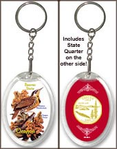 Oregon - State Bird & Flower Keychain - with Gold Plated State Quarter