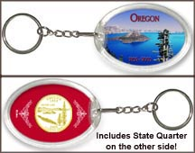 Oregon - Crater Lake Keychain - with Gold Plated State Quarter