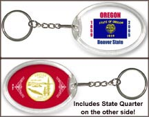 Oregon - State Flag Keychain - with Gold Plated State Quarter