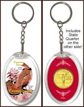 Pennsylvania - State Bird & Flower Keychain - with Gold Plated State Quarter