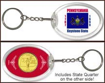 Pennsylvania - State Flag Keychain - with Gold Plated State Quarter