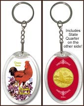 Rhode Island - State Bird & Flower Keychain - with Gold Plated State Quarter