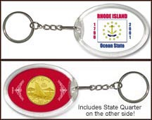 Rhode Island - State Flag Keychain - with Gold Plated State Quarter