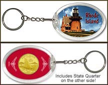 Rhode Island - Lighthouse Keychain - with Gold Plated State Quarter
