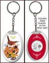 South Carolina - State Bird & Flower Keychain