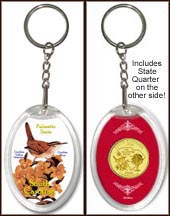 South Carolina - State Bird & Flower Keychain - with Gold Plated State Quarter