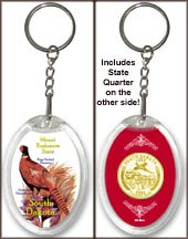 South Dakota - State Bird & Flower Keychain - with Gold Plated State Quarter