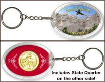 South Dakota - Mt. Rushmore Keychain - with Gold Plated State Quarter