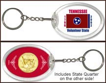Tennessee - State Flag Keychain - with Gold Plated State Quarter