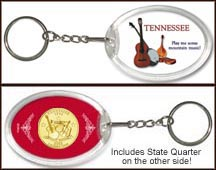 Tennessee - Mountain Music Keychain - with Gold Plated State Quarter