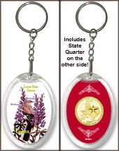 Texas - State Bird & Flower Keychain - with Gold Plated State Quarter