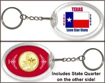 Texas - State Flag Keychain - with Gold Plated State Quarter