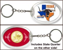 Texas - Longhorn Country Keychain - with Gold Plated State Quarter MAIN