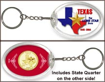 Texas - Lone Star State Keychain - with Gold Plated State Quarter